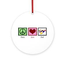 Peace Love Pool Ornament (Round)