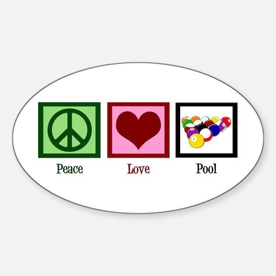 Peace Love Pool Sticker (Oval)