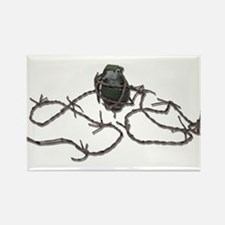 Barbed Wire Grenade Rectangle Magnet