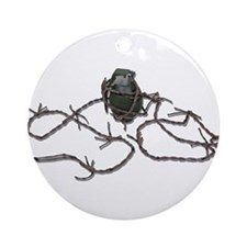 Barbed Wire Grenade Ornament (Round)
