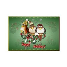 Happy Holidays Chirstmas Bird Rectangle Magnet