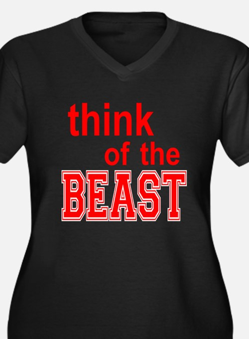 Think of the Beast Women's Plus Size V-Neck Dark T