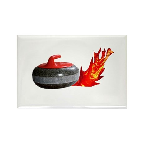 Flaming Rock Rectangle Magnet