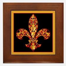 Gold Leaf Fleur de lis Framed Tile
