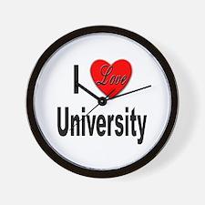 I Love University Wall Clock