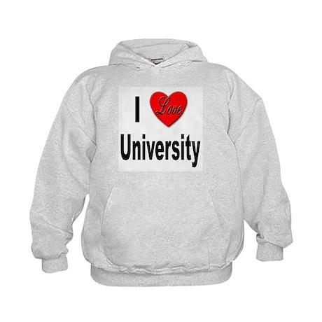 I Love University (Front) Kids Hoodie