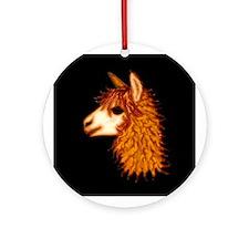 Alpaca (on black) Ornament (Round)