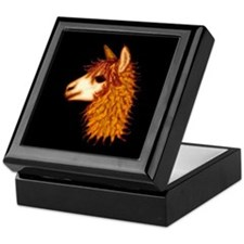 Alpaca (on black) Keepsake Box