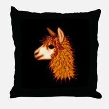 Alpaca (on black) Throw Pillow