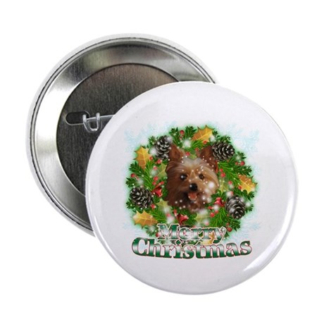 """Merry Christmas Yorkie 2.25"""" Button (100 pack)"""