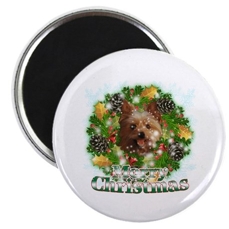 """Merry Christmas Yorkie 2.25"""" Magnet (10 pack)"""