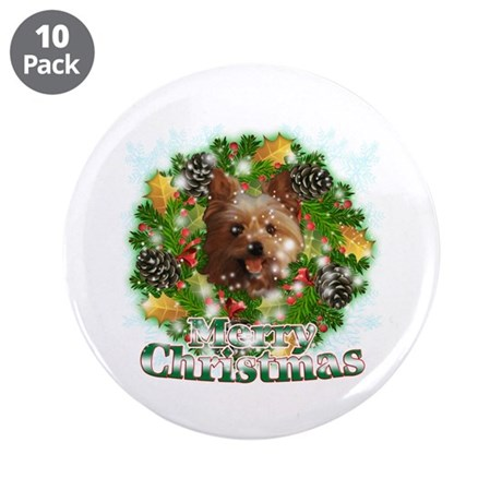"Merry Christmas Yorkie 3.5"" Button (10 pack)"