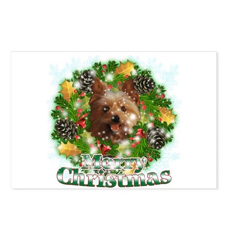 Merry Christmas Yorkie Postcards (Package of 8)