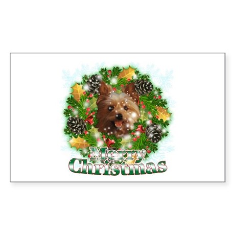 Merry Christmas Yorkie Sticker (Rectangle)