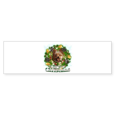 Merry Christmas Yorkie Sticker (Bumper)