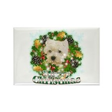 Merry Christmas Westie Rectangle Magnet
