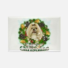 Merry Christmas Shih Tzu Rectangle Magnet