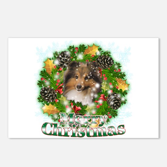 Merry Christmas Sheltie Postcards (Package of 8)