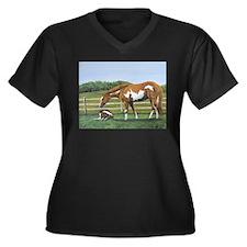 Paint Mare & Foal Women's Plus Size V-Neck Dark T-