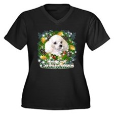 Merry Christmas Poodle Women's Plus Size V-Neck Da