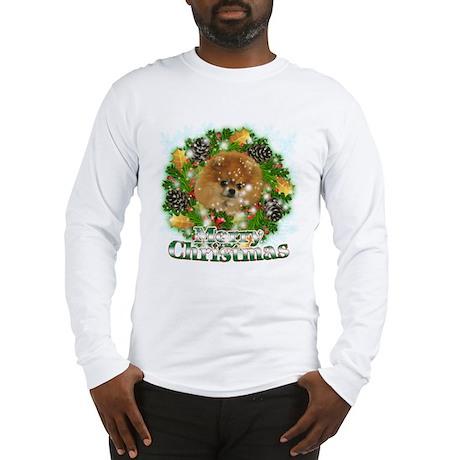 Merry Christmas Pomeranian Long Sleeve T-Shirt