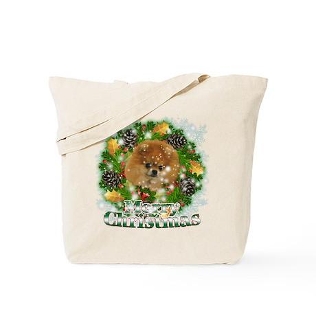Merry Christmas Pomeranian Tote Bag