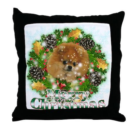 Merry Christmas Pomeranian Throw Pillow