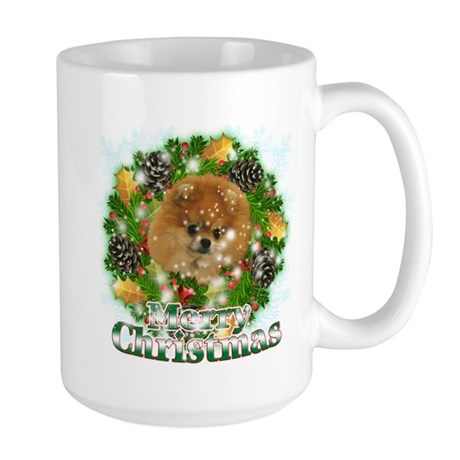 Merry Christmas Pomeranian Large Mug