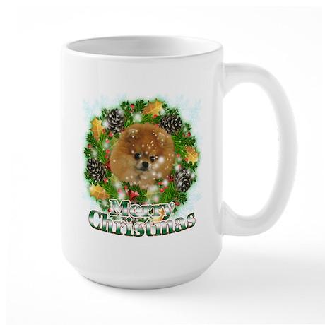 Merry Christmas Pomeranian Large Mug
