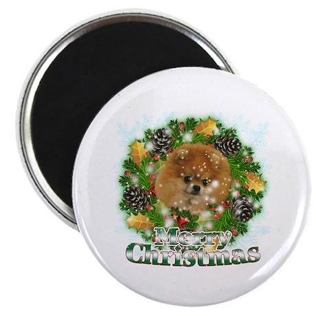 "Merry Christmas Pomeranian 2.25"" Magnet (10 pack)"