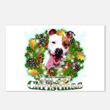 Merry Christmas Pitbull Postcards (Package of 8)