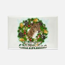 Merry Christmas Greyhound Rectangle Magnet