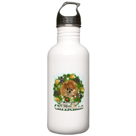 Merry Christmas Pomeranian Stainless Water Bottle