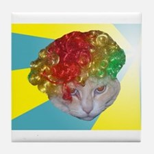 Creepy Cat Head Tile Coaster