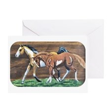 Foals on Wood Grain Greeting Card
