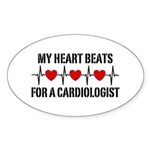 My Heart Beats For A Cardiologist Sticker (Oval)