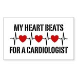 My Heart Beats For A Cardiologist Sticker (Rectang