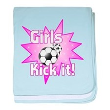Girls Kick It Soccer baby blanket