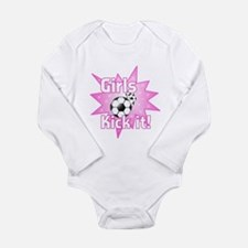Girls Kick It Soccer Long Sleeve Infant Bodysuit