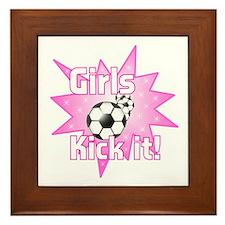 Girls Kick It Soccer Framed Tile