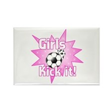 Girls Kick It Soccer Rectangle Magnet