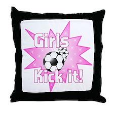 Girls Kick It Soccer Throw Pillow