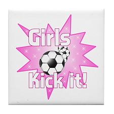 Girls Kick It Soccer Tile Coaster