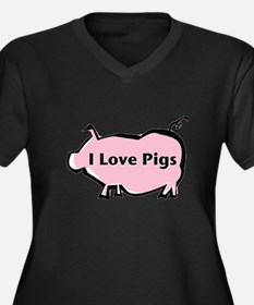 Pig Women's Plus Size V-Neck Dark T-Shirt