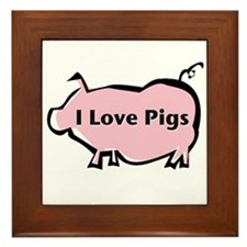 I Love Pigs Framed Tile