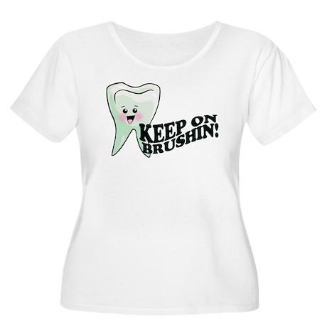 Keep On Brushing Women's Plus Size Scoop Neck T-Sh
