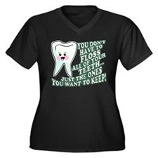 Floss Those Teeth Women's Plus Size V-Neck Dark T-