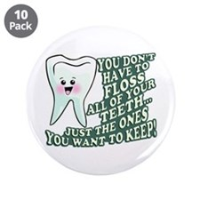 """Floss Those Teeth 3.5"""" Button (10 pack)"""