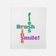 Brush Floss Rinse Smile Throw Blanket