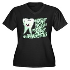 Funny Dental Hygiene Women's Plus Size V-Neck Dark